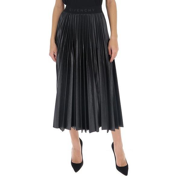 ジバンシー レディース スカート ボトムス Givenchy Pleated Logo Band Skirt -