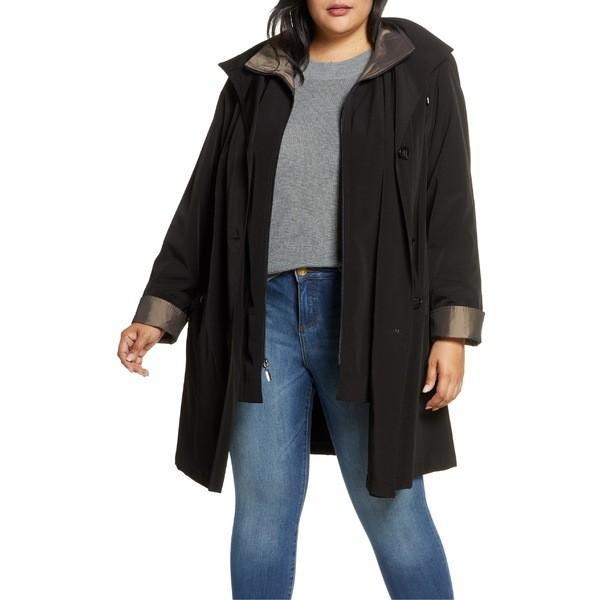 【国内在庫】 ギャレリ− コート アウター レディース Gallery Hooded Raincoat with Liner (Plus Size) Black, 京都のちょっとセレブな企業専門店 54b86c7a