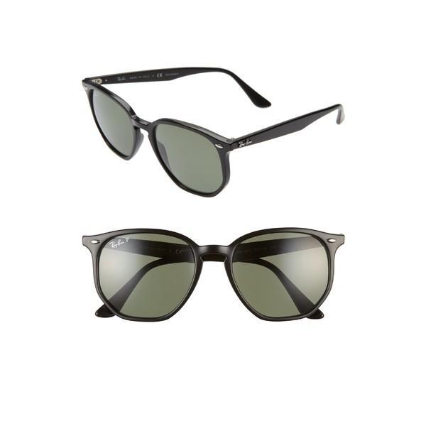 【年中無休】 レイバン サングラス&アイウェア アクセサリー レディース Ray-Ban 54mm Polarized Round Sunglasses Black/ Green Solid, 船引町 8f4d1e26
