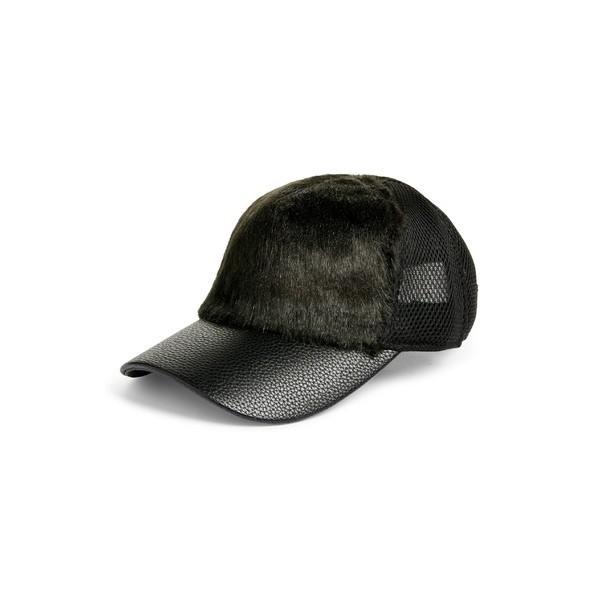 スウェット アクティブ 帽子 アクセサリー レディース SWEAT ACTIVE Faux Fur Trucker Hat 黒