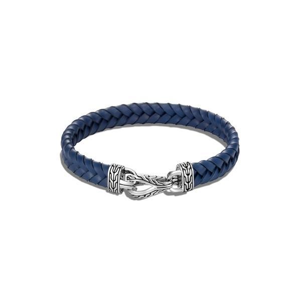 新品本物 ジョン・ハーディー ブレスレット・バングル・アンクレット アクセサリー メンズ John Hardy Men's Asli Classic Chain Braided Leather Bracelet Silver/ Blue, ファミリア 47878e44