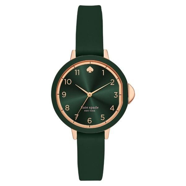 【おまけ付】 ケイト スペード 腕時計 アクセサリー レディース kate spade new york park row silicone strap watch, 34mm Green/ Rose Gold, 野栄町 351a3aa0