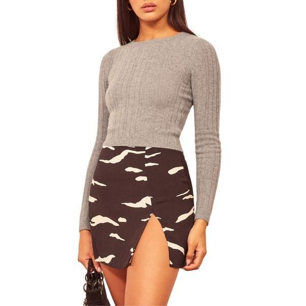 ファッションなデザイン リフォメーション & ニット&セーター アウター レディース Reformation Cashmere Crop Grey & Wool Crop Sweater Heather Grey, 着物美人:e84c0f13 --- theroofdoctorisin.com