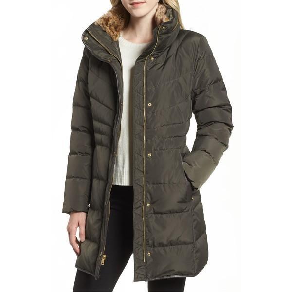 【期間限定特価】 コールハーン コート アウター レディース Cole Haan Quilted Down & Feather Fill Jacket with Faux Fur Trim (Regular & Petite) Forest, エンターキングオンライン fa4b6b68