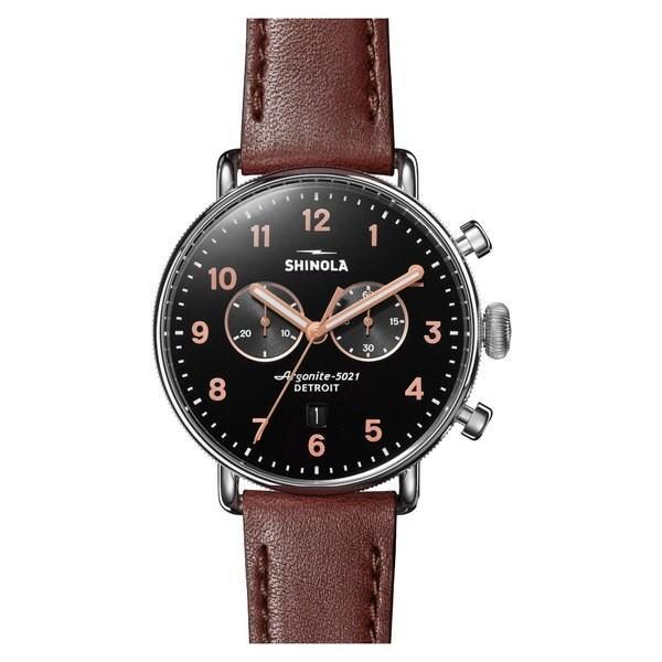 買得 シャイノーラ 腕時計 Watch, アクセサリー レディース レディース Shinola The Canfield Silver Chrono Leather Strap Watch, 43mm Dark Cognac/ Black/ Silver, Noa noa:b8dcc6cc --- airmodconsu.dominiotemporario.com