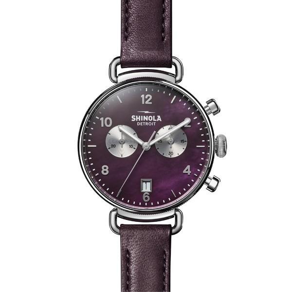 最も  シャイノーラ 腕時計 アクセサリー レディース レディース Shinola Mop/ 'The Canfield Chrono' Leather Chrono' Strap Watch, 38mm Purple/ Plum Mop/ Silver, フラワーショップ乃木坂(胡蝶蘭):757f1670 --- airmodconsu.dominiotemporario.com