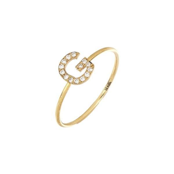 大特価 ボニー レヴィ リング アクセサリー レディース Bony Levy Simple Obsession Diamond Initial Ring (Nordstrom Exclusive) Yellow Gold - G, オオダシ 5af78691