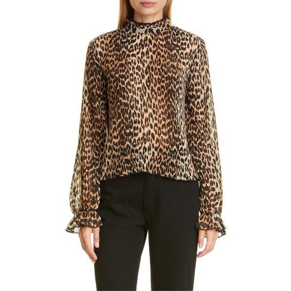 殿堂 ガニー カットソー トップス レディース Ganni Leopard Print Pleated Georgette Blouse Leopard, ROTA SPORTS d4778b1c