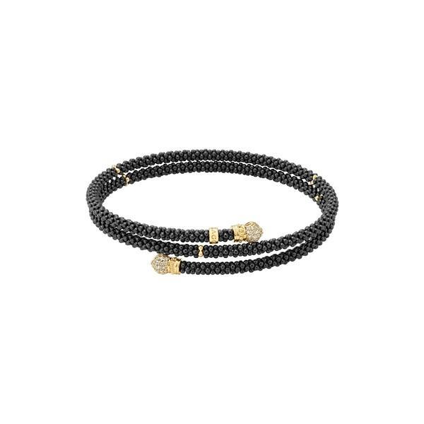 楽天 ラゴス ブレスレット・バングル・アンクレット アクセサリー レディース LAGOS Gold & Black Caviar Pav Diamond Wrap Bracelet Gold, 浦和区 aa8a233a
