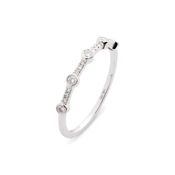 開店記念セール! エフコレクション リング アクセサリー レディース EF COLLECTION 5-Bezel Diamond Stack Ring White Gold/ Diamond, ウトシ c09cea9e