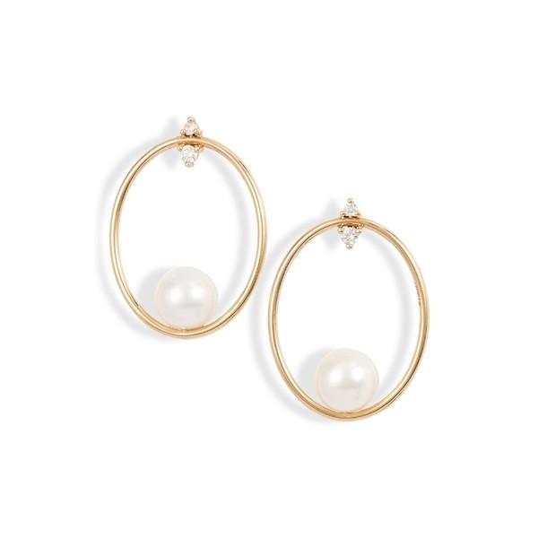 お気に入り ミズキ ピアス&イヤリング ミズキ アクセサリー レディース Mizuki Small Small Oval Diamond Frontal Hoop Earrings Yellow Gold/ Diamond, 優れた品質:4590c38b --- airmodconsu.dominiotemporario.com