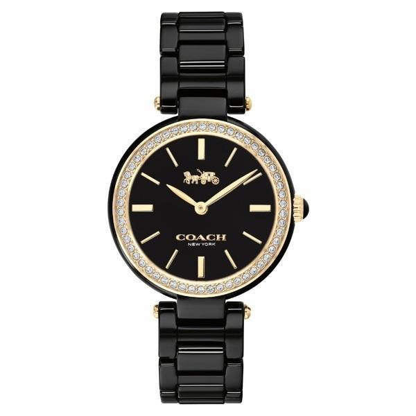 品多く コーチ 腕時計 アクセサリー レディース COACH Park Ceramic Bracelet Watch, 30mm Black/ Silver, 得値厨房 87e55fb9