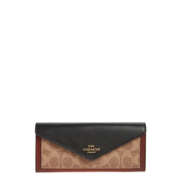 ★大人気商品★ コーチ コート アウター レディース COACH Colorblock Leather & Coated Canvas Wallet Tan Black, 数量は多 d22b4ba1