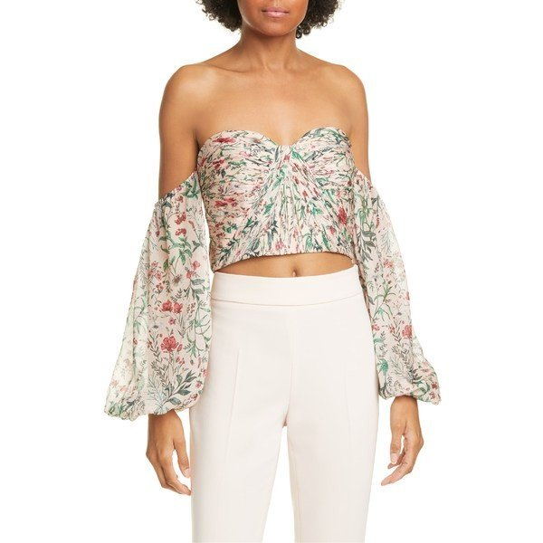 品多く アミュール カットソー トップス レディース AMUR Helena Floral Off the Shoulder Silk Crop Top Blush Multi Wildflowers, sanada e69807c7