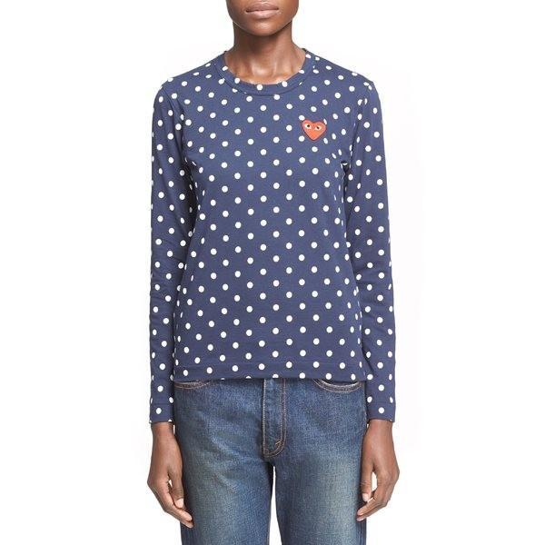 多様な コムデギャルソン Tシャツ トップス レディース Comme des Garons PLAY Polka Dot Tee Navy/ White, 望月町 e809567b