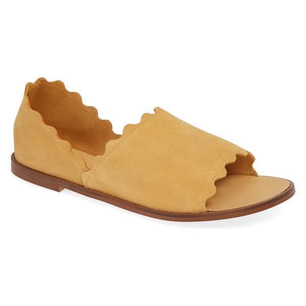 かわいい! クラブニコ パンプス シューズ レディース Klub Nico Lisette Scalloped Slip-On Flat (Women) Yellow Suede, ミツカイドウシ ca4c83d6