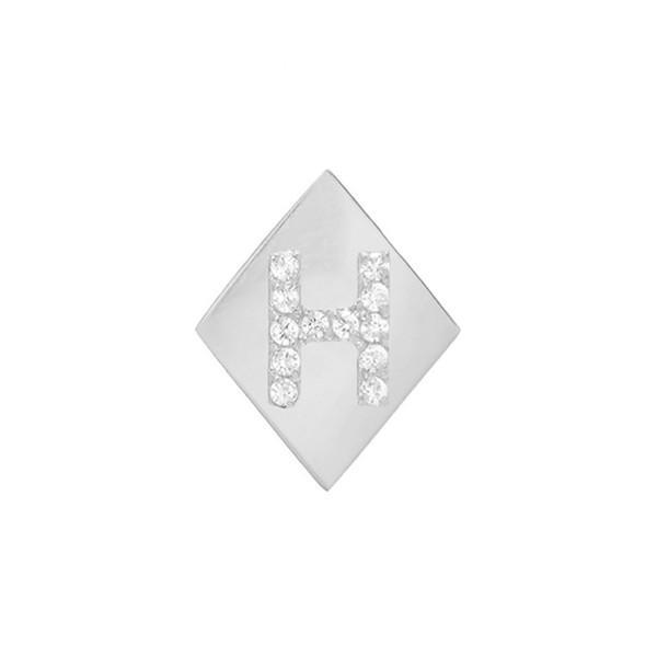 【期間限定!最安値挑戦】 ミニミニジュエルズ ピアス&イヤリング アクセサリー レディース Mini Mini Jewels Framed Diamond Initial Earring White Gold- H, ジュエリーショップ ルビーノ dfae7155