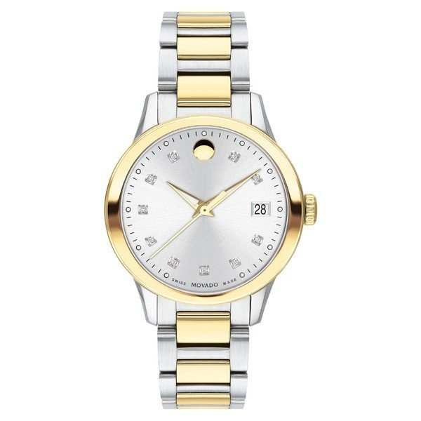 熱販売 モバド Apria 腕時計 Gold アクセサリー レディース Bracelet Movado Apria Diamond Bracelet Watch, 32mm Silver/ Gold, ナチュラル服、雑貨 a-leaffactory:0019a62a --- airmodconsu.dominiotemporario.com