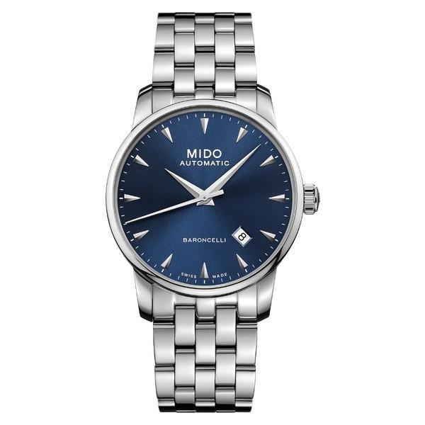 トミカチョウ ミド 腕時計 アクセサリー レディース レディース Silver/ MIDO Baroncelli Automatic Bracelet Bracelet Watch, 38mm Silver/ Blue/ Silver, 出水郡:2c88d924 --- airmodconsu.dominiotemporario.com