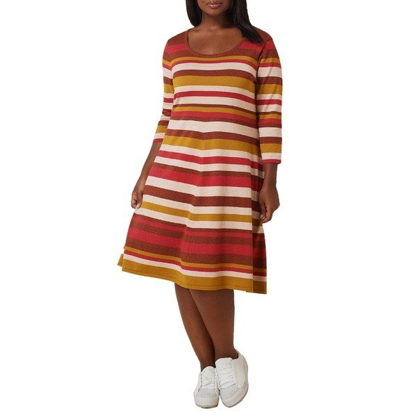 マレプアトイ ワンピース トップス レディース Mare Pour Toi Stripe Fit & Flare Sweater Dress (Plus Size) Rust