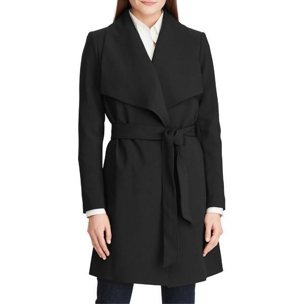 最前線の ラルフローレン コート アウター レディース Lauren Ralph Lauren Crepe Wrap Coat Black, 卯月 90f7abf4