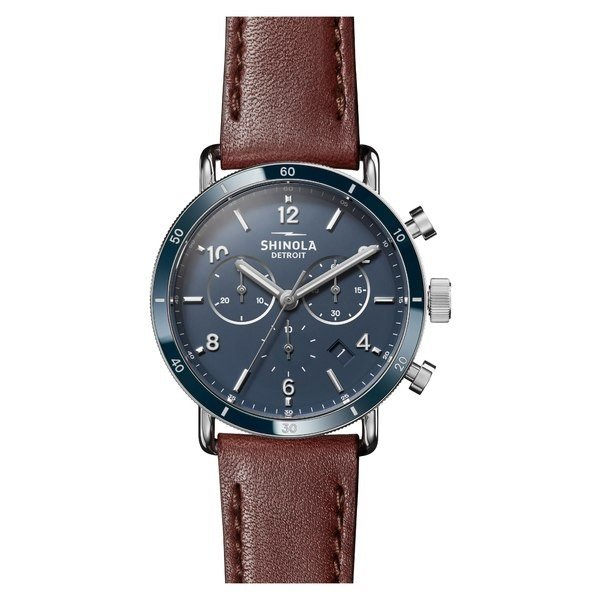 日本最大級 シャイノーラ 腕時計 アクセサリー レディース Shinola Strap The Cognac/ Canfield Chrono Leather Blue/ Strap Watch, 40mm Dark Cognac/ Blue/ Silver, メンズ通販Burn ones bridges:7df8f930 --- airmodconsu.dominiotemporario.com