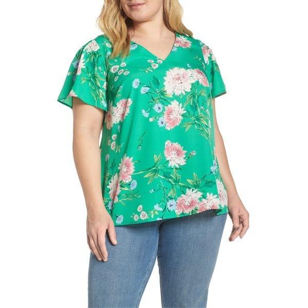 ダニエルレイン シャツ トップス レディース Daniel Rainn Floral Print Smocked Sleeve Top (Plus Size) Fern 緑