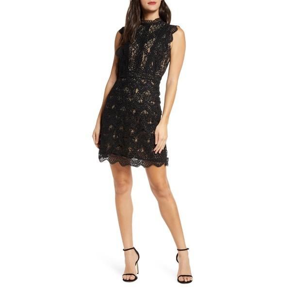 チェルシー28 ワンピース トップス レディース Chelsea 28 Sleeveless Allover Lace Sheath Dress 黒