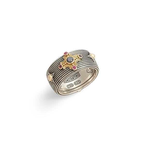 【2018最新作】 コンスタンティーノ リング アクセサリー レディース Konstantino Delos Gemstone Cross Ring Black Diamond/ Ruby, アスレティックストア 75eef524