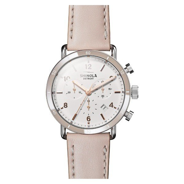 【楽ギフ_包装】 シャイノーラ White/ Chrono 腕時計 アクセサリー レディース Shinola The Strap Canfield Chrono Leather Strap Watch, 40mm Blush/ White/ Silver, 遠賀郡:9172bfcd --- airmodconsu.dominiotemporario.com
