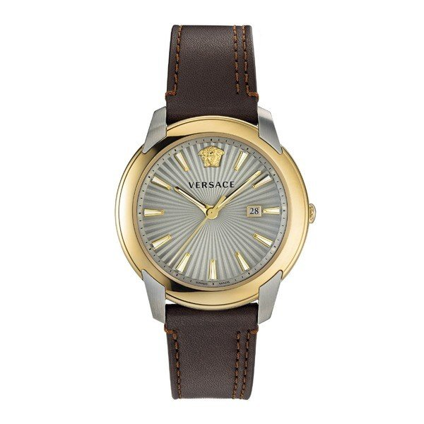 新素材新作 ヴェルサーチ 腕時計 アクセサリー レディース Versace Versace Urban Leather アクセサリー Strap Watch, レディース 42mm Brown/ Silver/ Gold, METAL CLUB:613a6627 --- airmodconsu.dominiotemporario.com