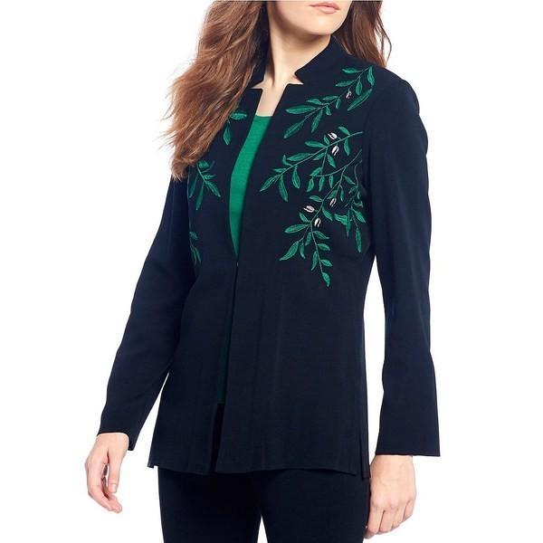 ミンウォン レディース ジャケット・ブルゾン アウター Mandarin Neck Embroide赤 Notch Collar Jacket 黒/Forest/Limestone