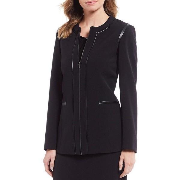 プレストンアンドヨーク レディース ジャケット・ブルゾン アウター Tamra Faux Leather Trim Zip Front Jacket 黒