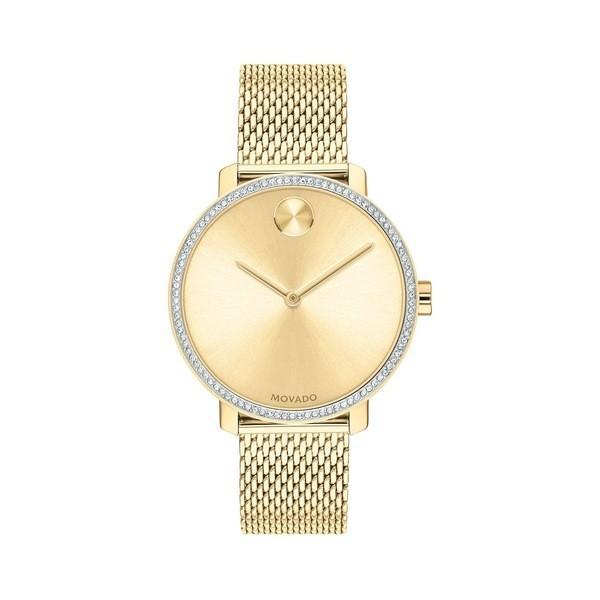 春早割 モバド レディース 腕時計 アクセサリー Bold Yellow Gold Ion-Plated Stainless Steel, Crystal & Mesh-Link Bracelet Watch Gold, Vision Quest 6c3398fa