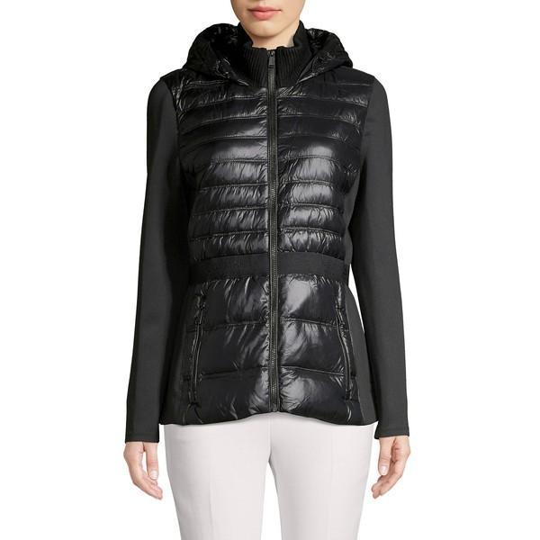 ウイスキー専門店 蔵人クロード カルバンクライン レディース コート アウター Hooded Quilt & Knit Combo Down Coat Metallic Black, Select Shop Undo 769286dd