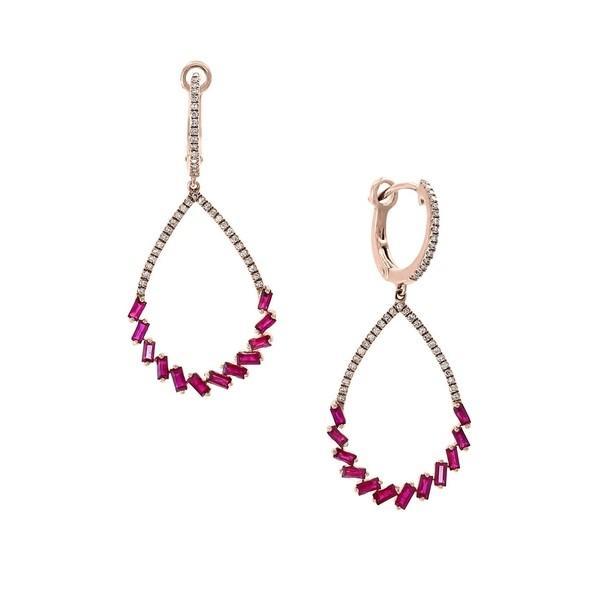 【ギフ_包装】 エフィー レディース ピアス&イヤリング Ruby アクセサリー 14K Diamond, エフィー Ruby, and 14K Rose Gold Drop Earrings Ruby, E-NOALZU:ae2c3564 --- sonpurmela.online