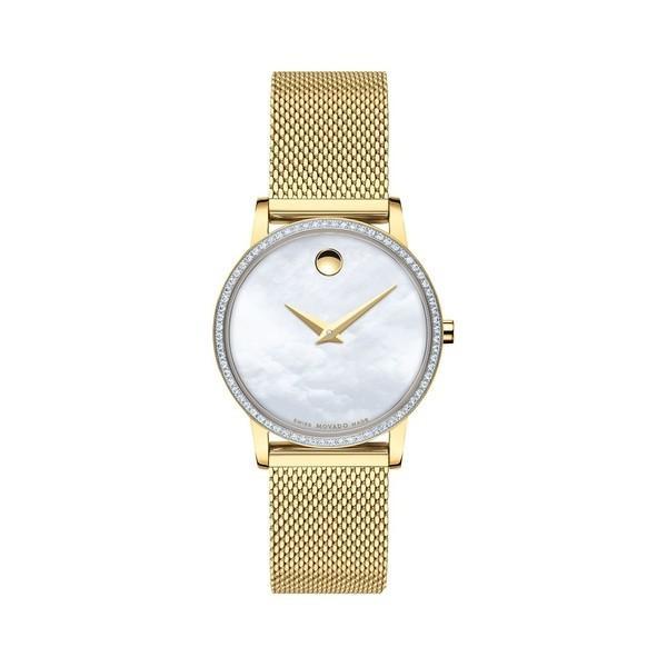 多様な モバド レディース 腕時計 アクセサリー Yellow Goldplated, Pavé Diamond Stainless Steel & Mother-Of-Pearl Mesh Strap Watch Gold, 大滝村 95955287
