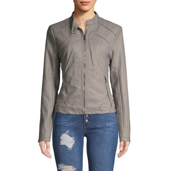 代引き手数料無料 ゲス レディース コート アウター Scuba Front Zip Vegan Leather Jacket Grey, シルバーアクセサリー夢ロード 2ee95659