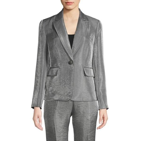 上品なスタイル カスパー レディース コート アウター Notched Button-Front Jacket Silver, ヒノカゲチョウ f0346698