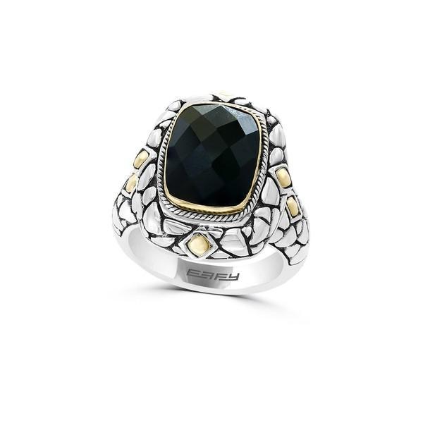 売上実績NO.1 エフィー レディース リング アクセサリー 925 Sterling Silver, 18K Goldplated & Faceted Onyx Ring Black, ユアーズゴルフプラザ 7944aa08