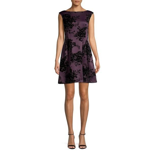 ヴィンスカムート レディース ワンピース トップス Floral Jacquard Mini A-Line Dress Plum
