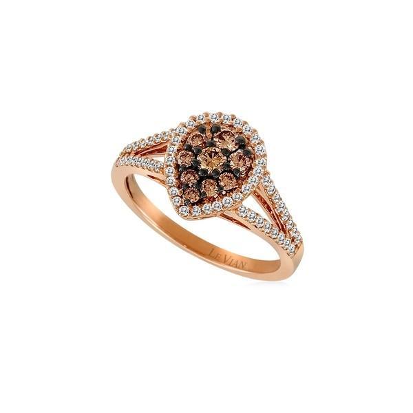 新しいブランド ルヴァン レディース リング アクセサリー 14K Strawberry Gold, Chocolate Diamond and Vanilla Diamond Solitaire Ring Rose Gold, コスメティックリリー 90e4e466