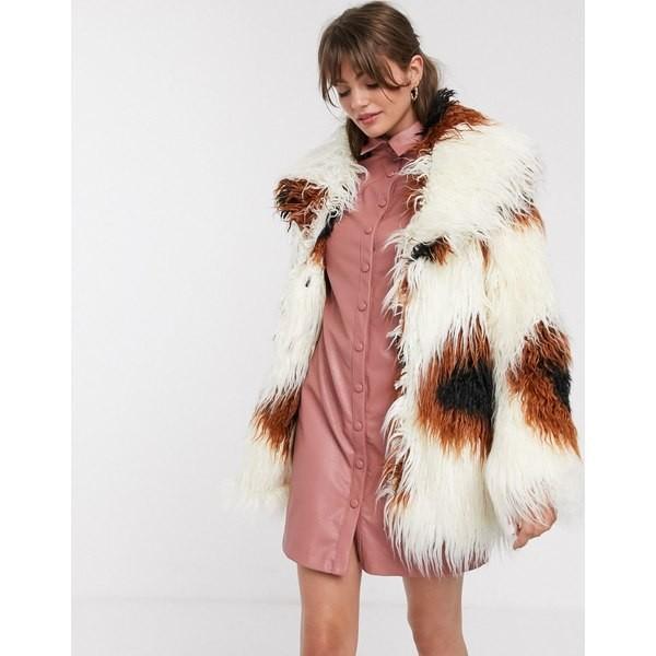 特価商品  グラマラス レディース コート アウター Glamorous shaggy faux fur jacket in smudge print Cream brown spot, きもの京紅屋通販部 41e2dffa
