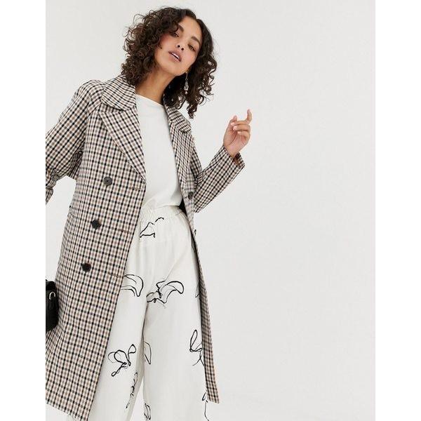 【返品送料無料】 セレクティッド レディース コート アウター Selected Femme check trench coat Snow white w check, 小金井市 e6bfbb6f