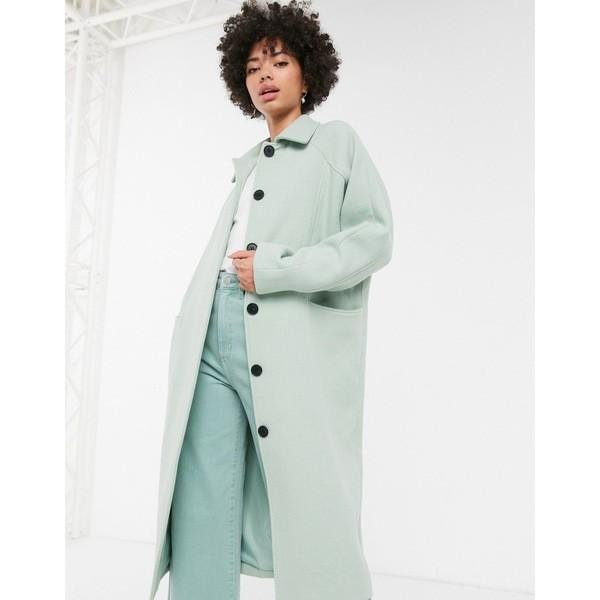 高い品質 モンキ レディース コート アウター Monki oversized midi tailored coat in sage green Green, ライフシステム e1ddcda2