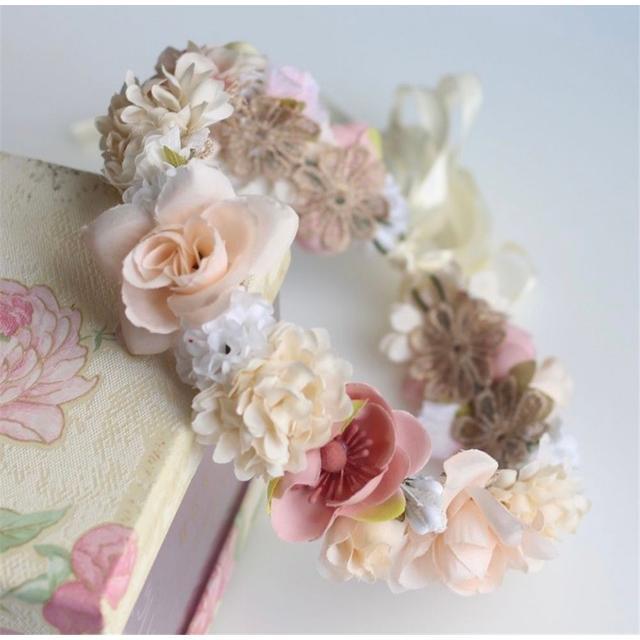 花冠 ヘアフラワー ウエディング メイルオーダー ベビー キッズ ヘアバンド 人気の定番 ドレス カチューシャ ヘアアクセサリー リボン 花かんむり