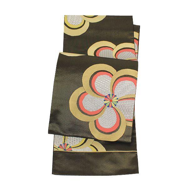 西陣 米津織物 竪金糸 袋帯 「ねじり梅柄」 fo2200