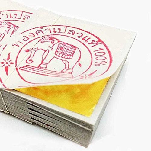 【送料無料】純金箔 24K タイ産 ゴールド リーフ 金箔 シート 100枚セット 4cm x 4cm タイ 仏事 慶事 工芸用 ホビー [並行輸入品