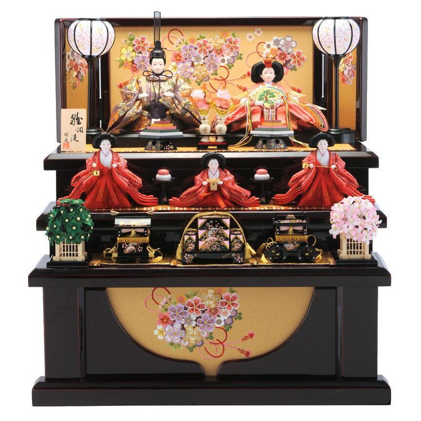 雛人形 コンパクト収納飾り ひな人形 雛 三段飾り 五人飾り 雅泉作 雛爛漫 fzcp-45r1371skb-1