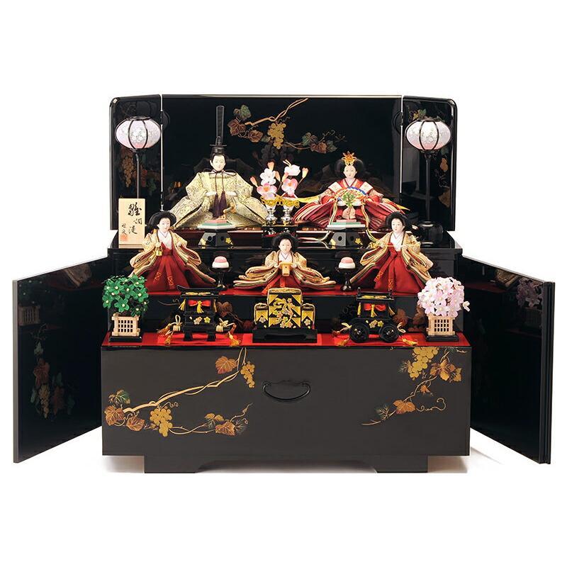 雛人形 雛 コンパクト収納飾り ひな人形 三段飾り 五人飾り 会津塗り 雅泉作 fzcp-45r1374skh